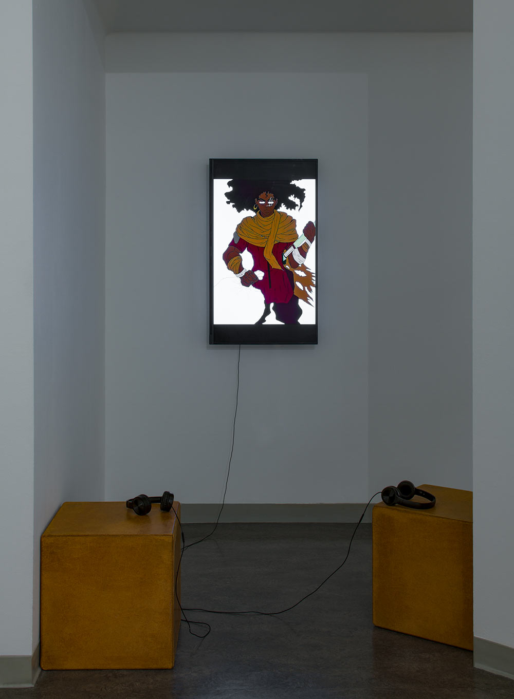 Photograph of a video piece by Torren Broussard-Boston installed in the Vachon Gallery