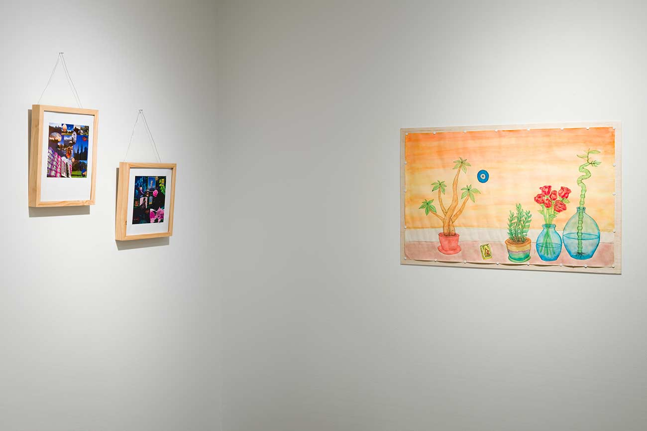 Photograph of work by Carolyn Estes installed in the Vachon Gallery
