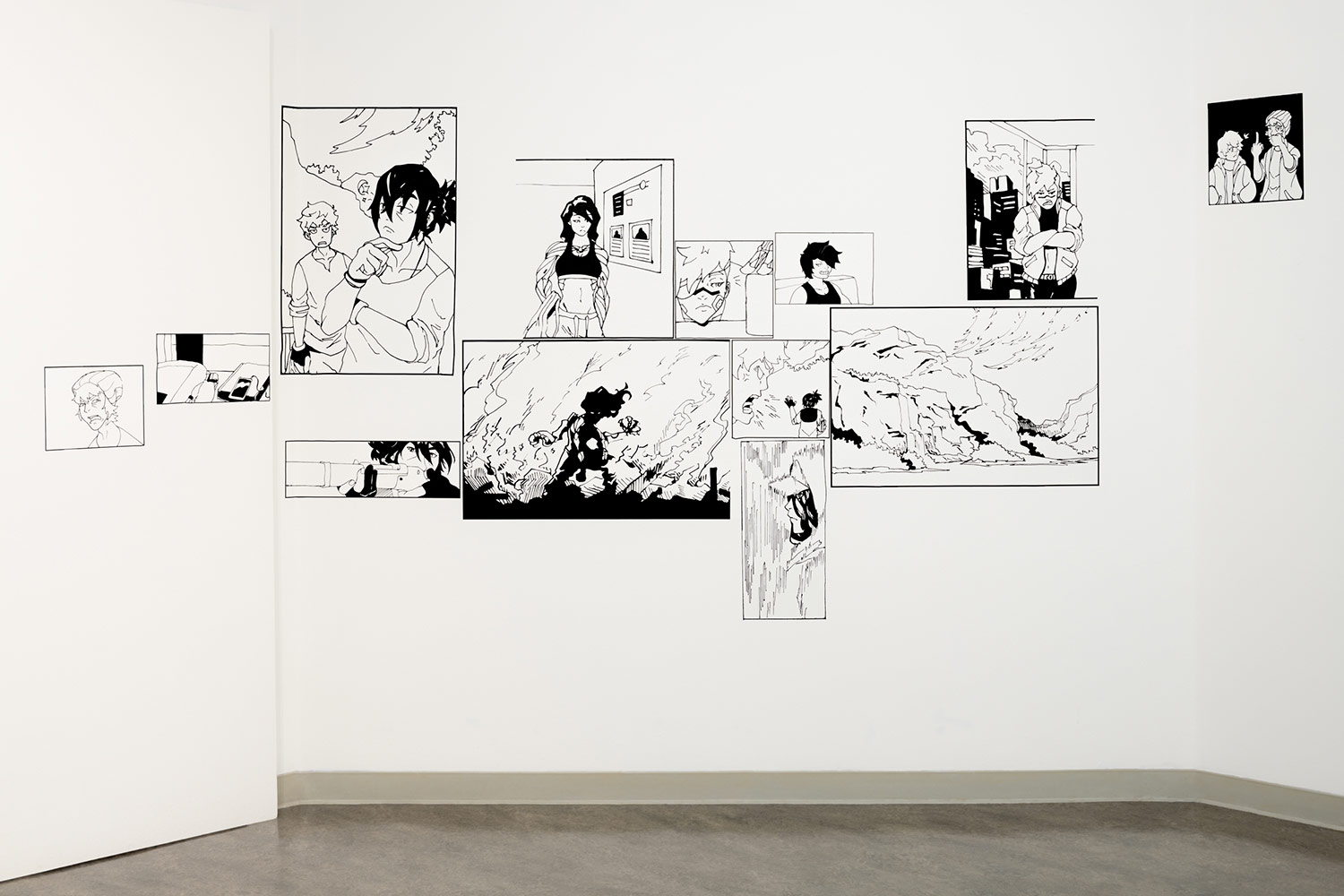 Photograph of a multi-panel comic rendered in vinyl installed in the Vachon Gallery