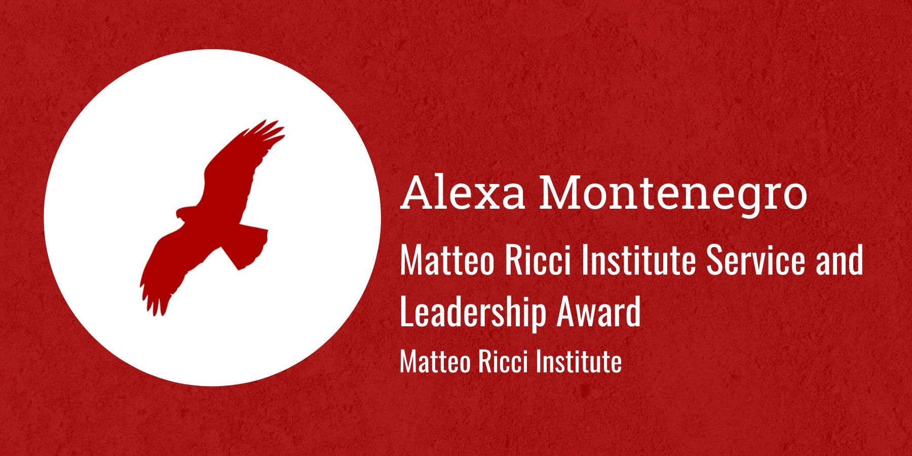 Image of Redhawk and Text: Matteo Ricci Institute Service and Leadership Award