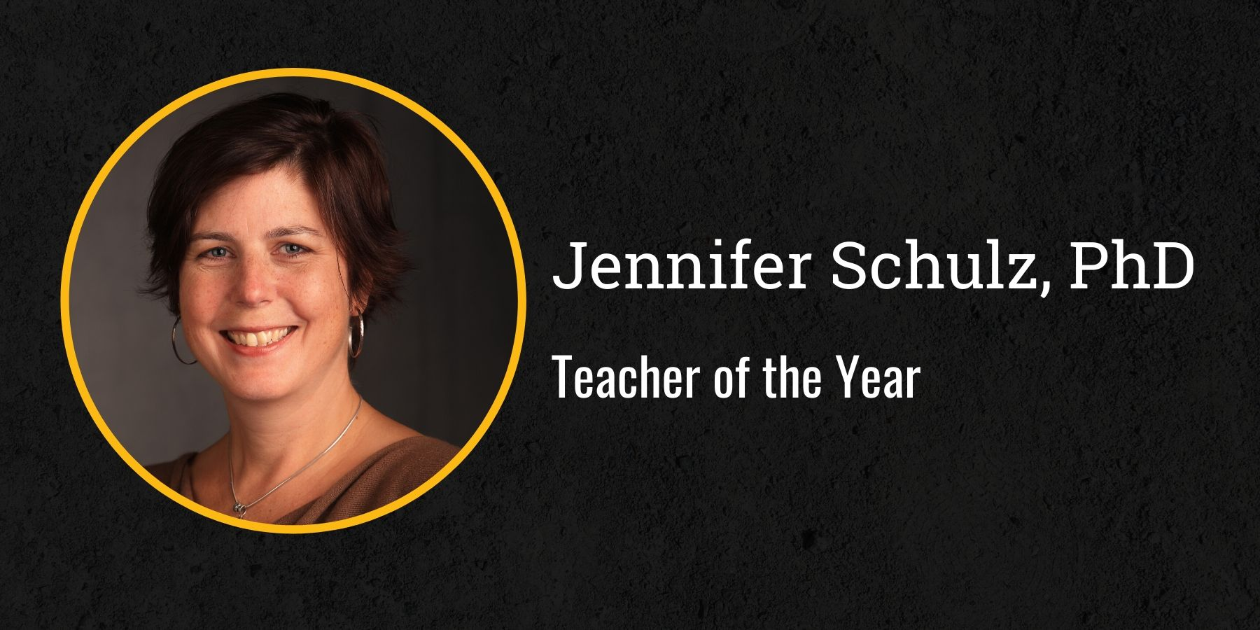 Photo of Jennifer Schulz and text Teacher of the Year