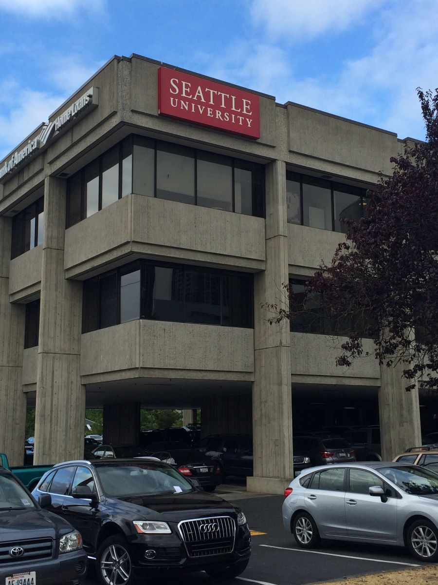 Seattle University sign on new Eastside campus