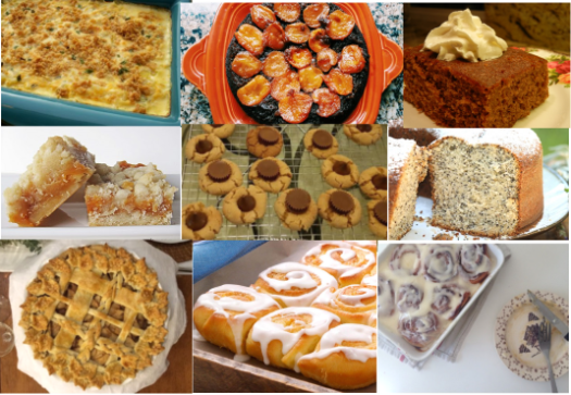 A collection of pictures of pies, cakes, cookies, breads and other holidays treats.