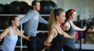 Students participating in a fitness class.