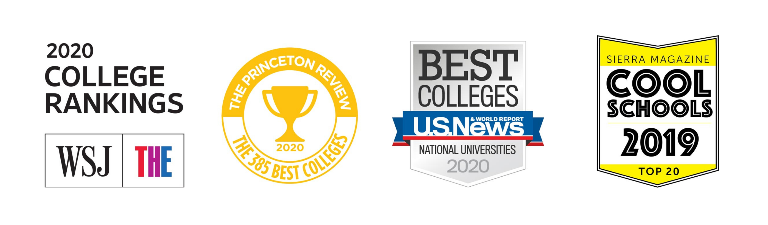 Logos from national college ranking organizations