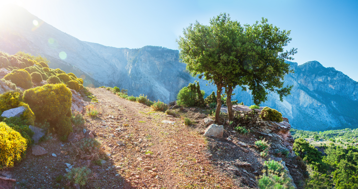 A landscape of a mountain being reflected in the lake waters before it