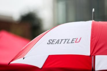 Image of umbrella with seattle U logo