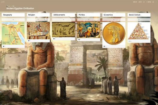 Example Padlet: Ancient Egyptian Civilization Board