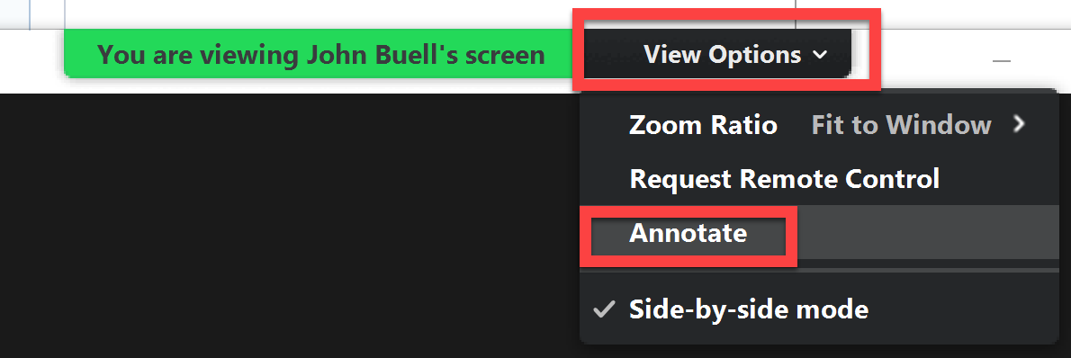 Screenshot of how to annotate on someone else's shared screen in Zoom