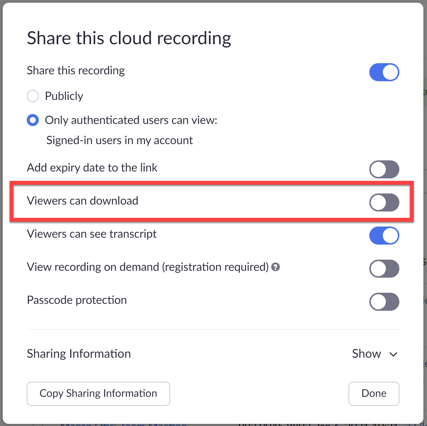Screenshot of how to disable downloads for a Zoom Cloud Recording under Share