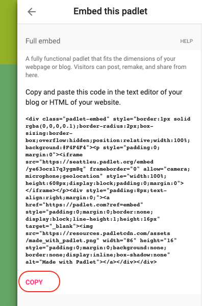 Screenshot of how to copy the embed code in Padlet