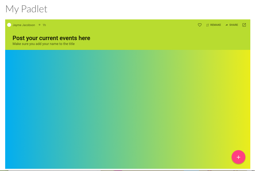 Screenshot of an example Padlet embed in Canvas course