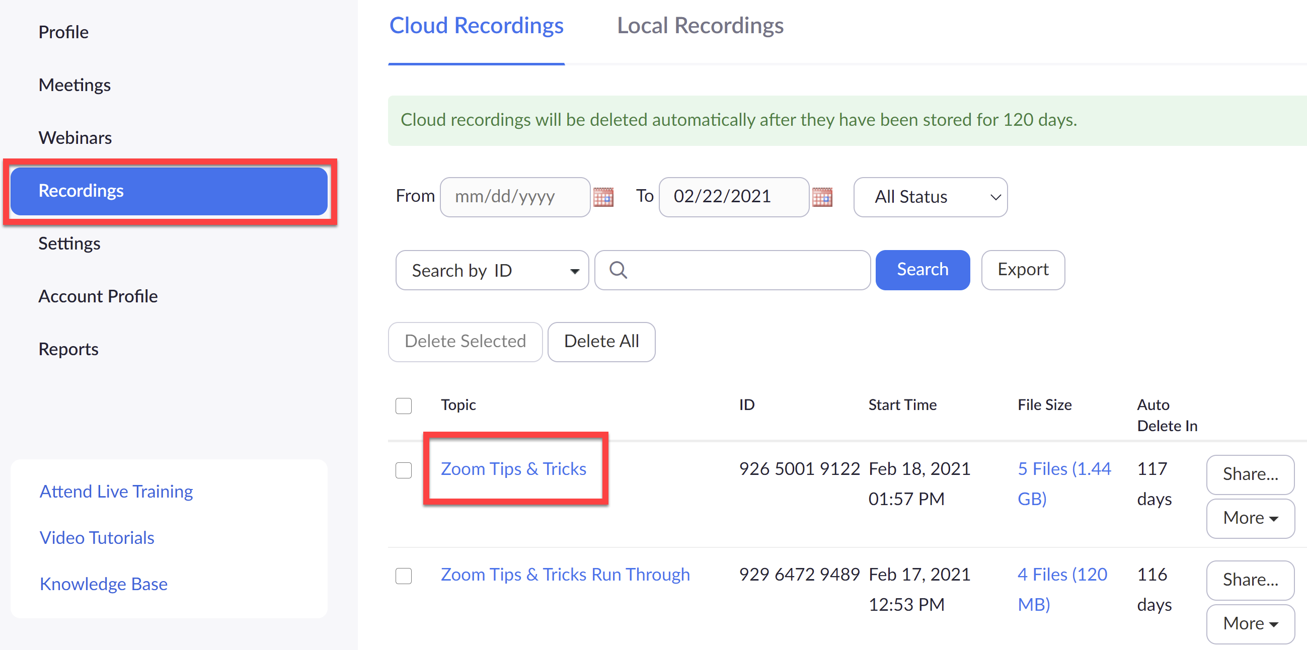 Screenshot of how to locate a Zoom Cloud Recording in Zoom Web Portal