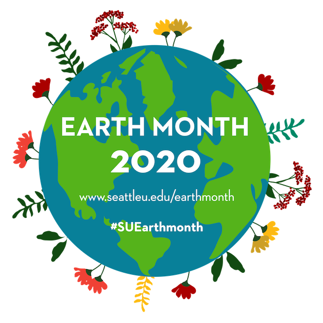 earth month logo: an earth surrounded by multicolored flowers