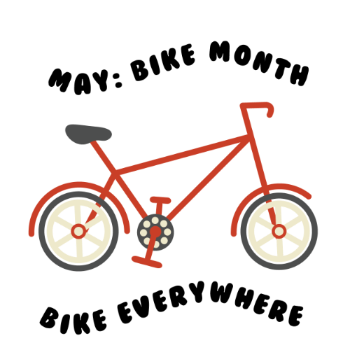 icon of bike with text saying May: Bike Month, Bike everywhere