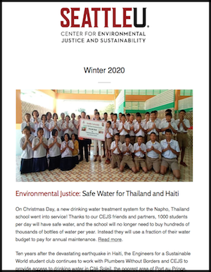 screenshot of homepage of CEJS WQ 2020 newsletter