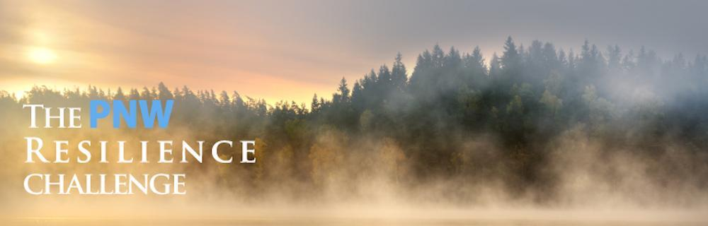 PNW Challenge Banner: Trees with fog and the text: Pacific Northwest Challenge