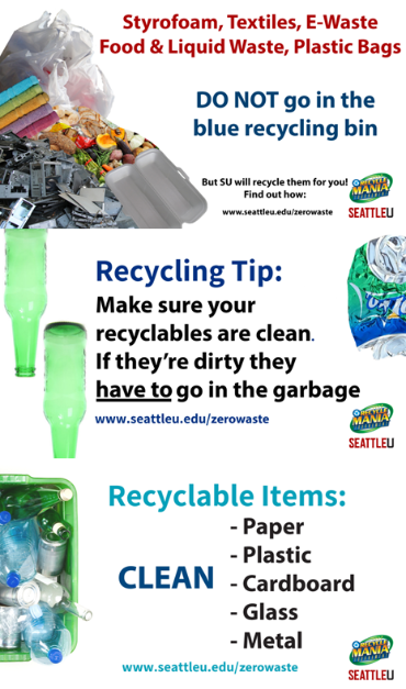Make sure all recyclables are clean before you put them in the bin, if you are unsure if it is recyclable or not, just throw it out!
