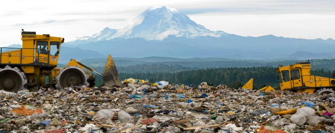 image of giant landfill in front of Mount Rainier