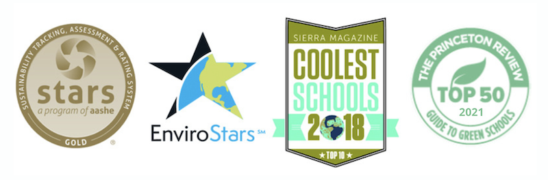 stars,envirostars,coolest school, princeton review's top 50 awards logos
