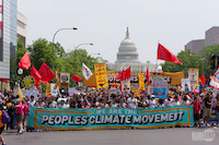a photo of the peoples climate movement march in Washington DC
