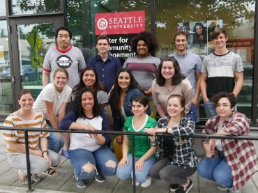 2019 Summer Fellows group photo in front of the Center for Community Engagement at Seattle University