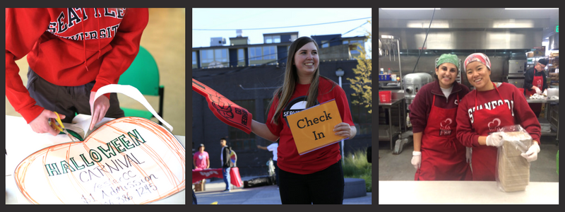 photos of Seattle U student leaders engaged in the community with the serve local logo