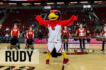 Rudy the Redhawk, Seattle U's Mascot on the basketball court