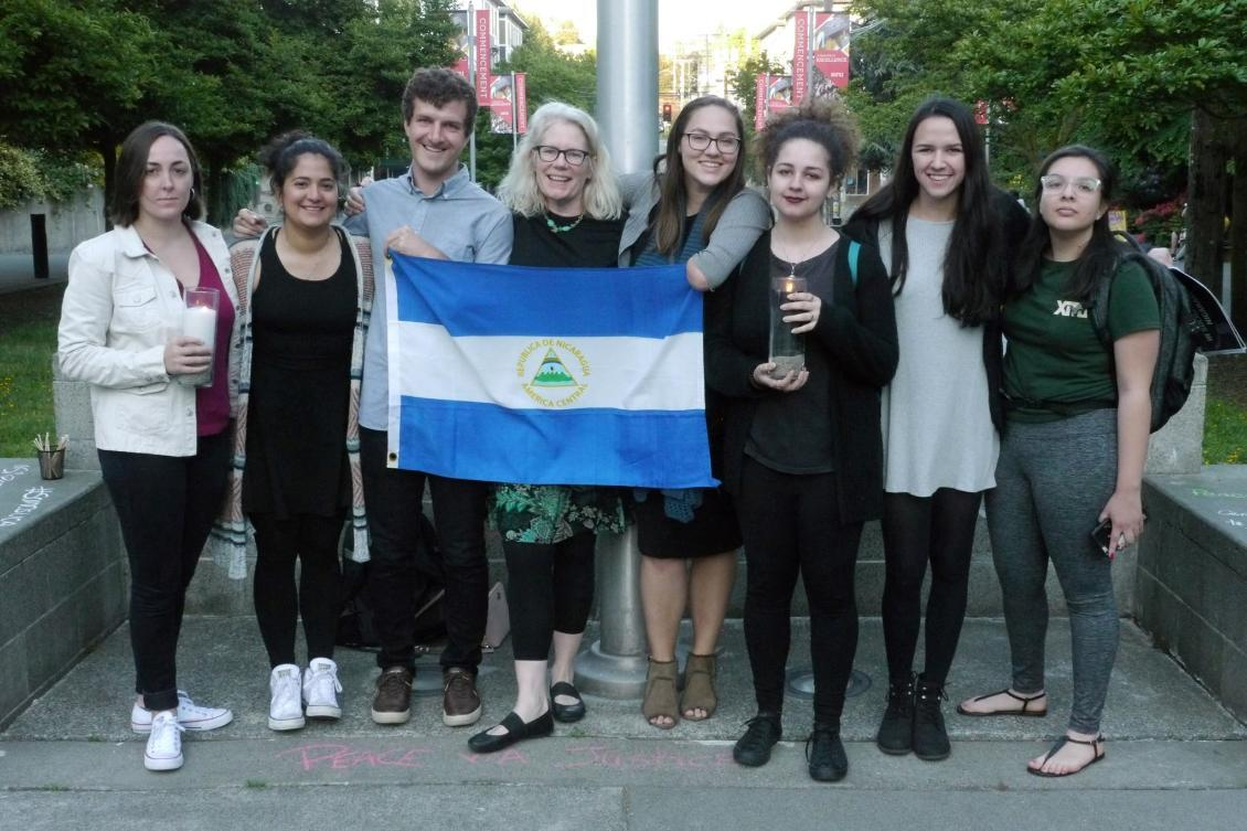 Group of students, alumni and faculty supporting the people of Nicaragua