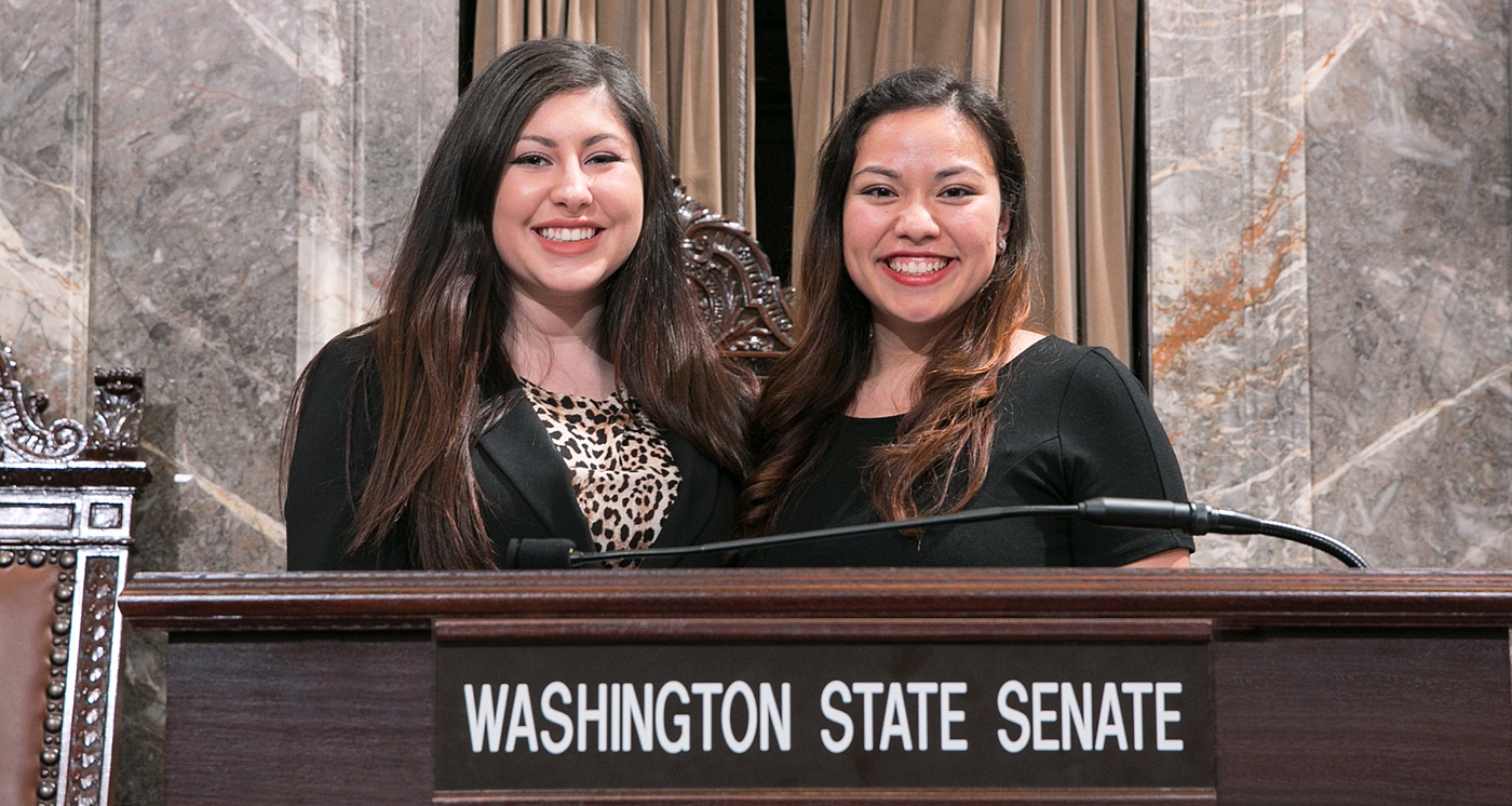 Two Seattle University Political Science students, Demetra Annest and Leslie Burnett