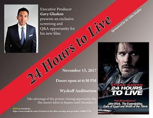 Poster artwork for screening of the film, 24 Hours to Live