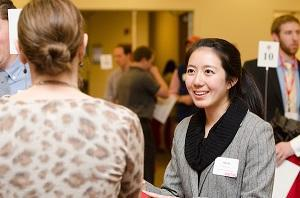 Two women at an alumni networking event