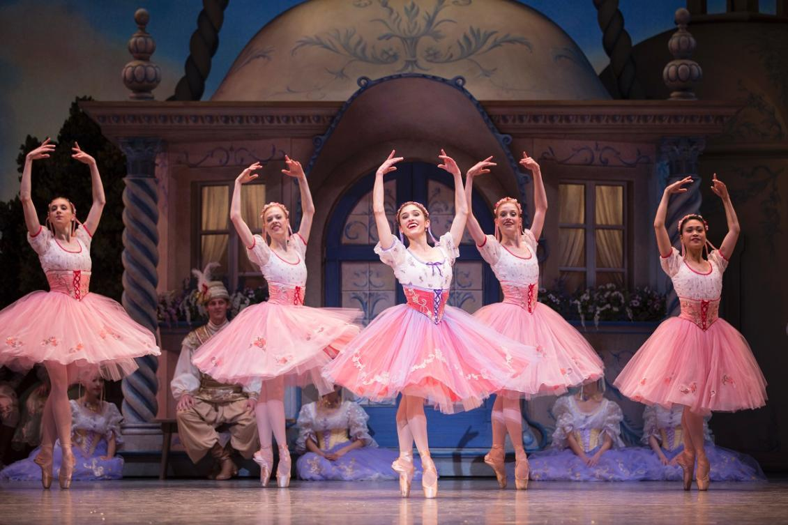 Pacific Northwest Ballet soloist Leta Biasucci (center) with company dancers in Coppélia. Photo: Angela Sterling.