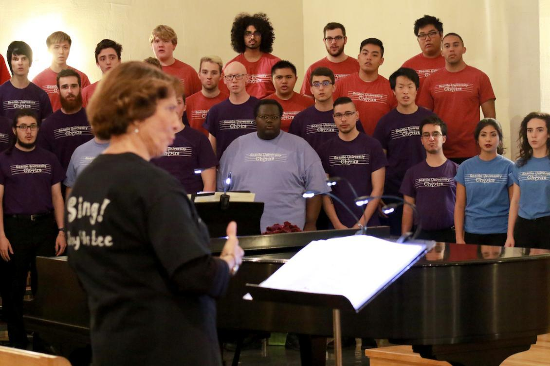 Director Joy Sherman and choir