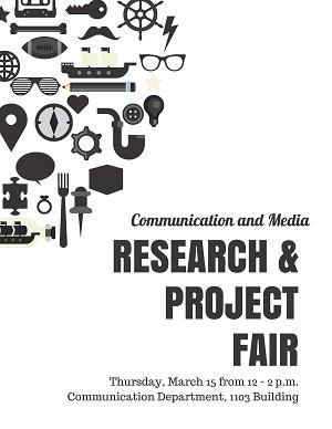 Black and white poster for 2018 Communication Research and Project Fair