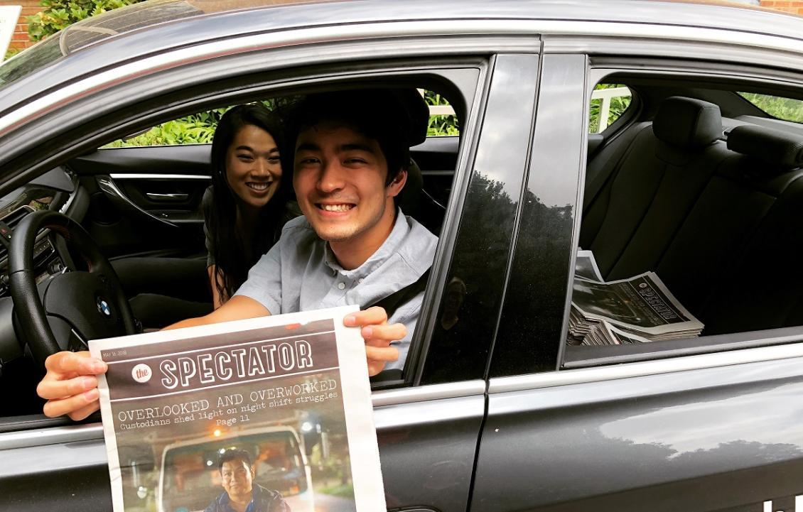 Students Elise Wang and Nick Turner deliver The Spectator