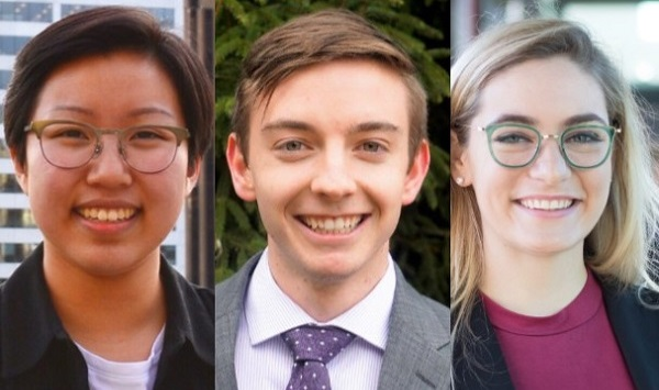 Truman Scholar finalists Evelyn Chow, Connor Crinion, and Kate Hannick.