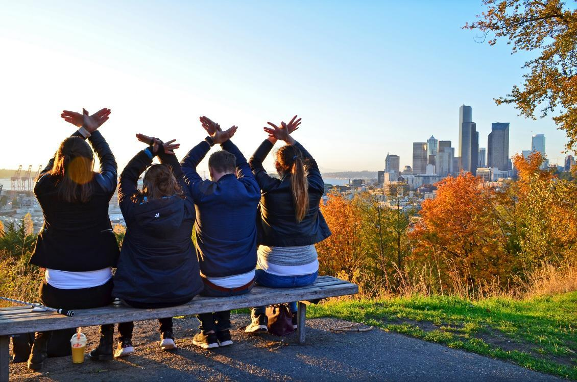 Photo from Dr. José Rizal Park, Seattle, WA with students byCamilla Ljung, called Adopted RedHawks With a View