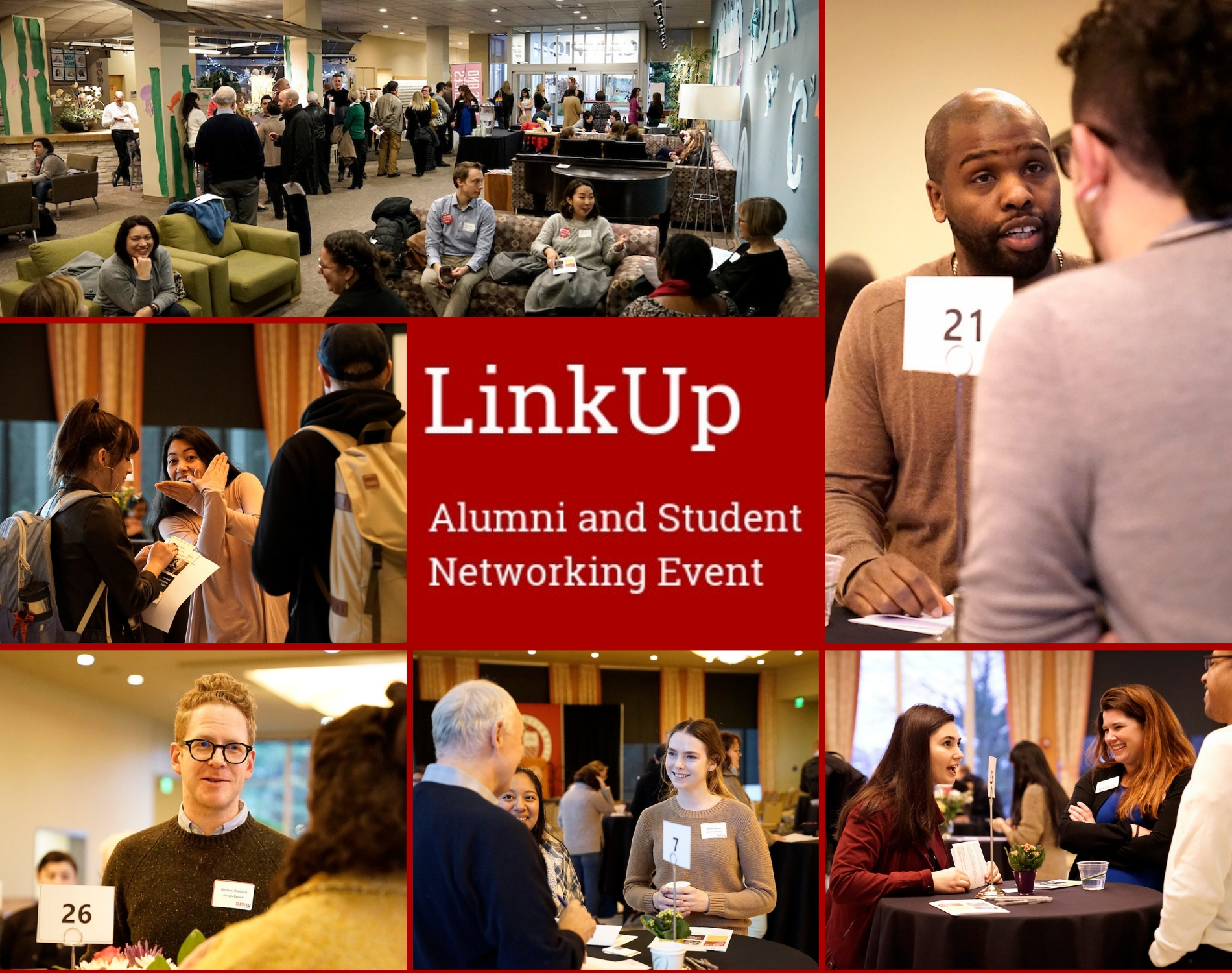 A montage of photos of students and alumni at LinkUp 2019
