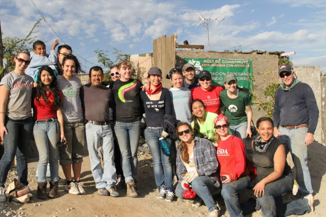 Paul Milian in Tijauna, Mexico, with students