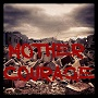 Poster for the play Mother Courage with the title on a field of rubble