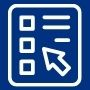 Icon with arrow and boxes to represent taking a survey