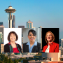 Three women leaders and Seattle skyline