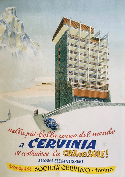 An image of a poster with an alpine mountain, a building, a church, two people, a car, and writing in Italian.
