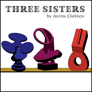graphic logo of three abstract forms representing the three sisters and text