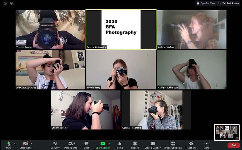 screen shot of a zoom  meeting with bfa photography students pointing cameras at each other
