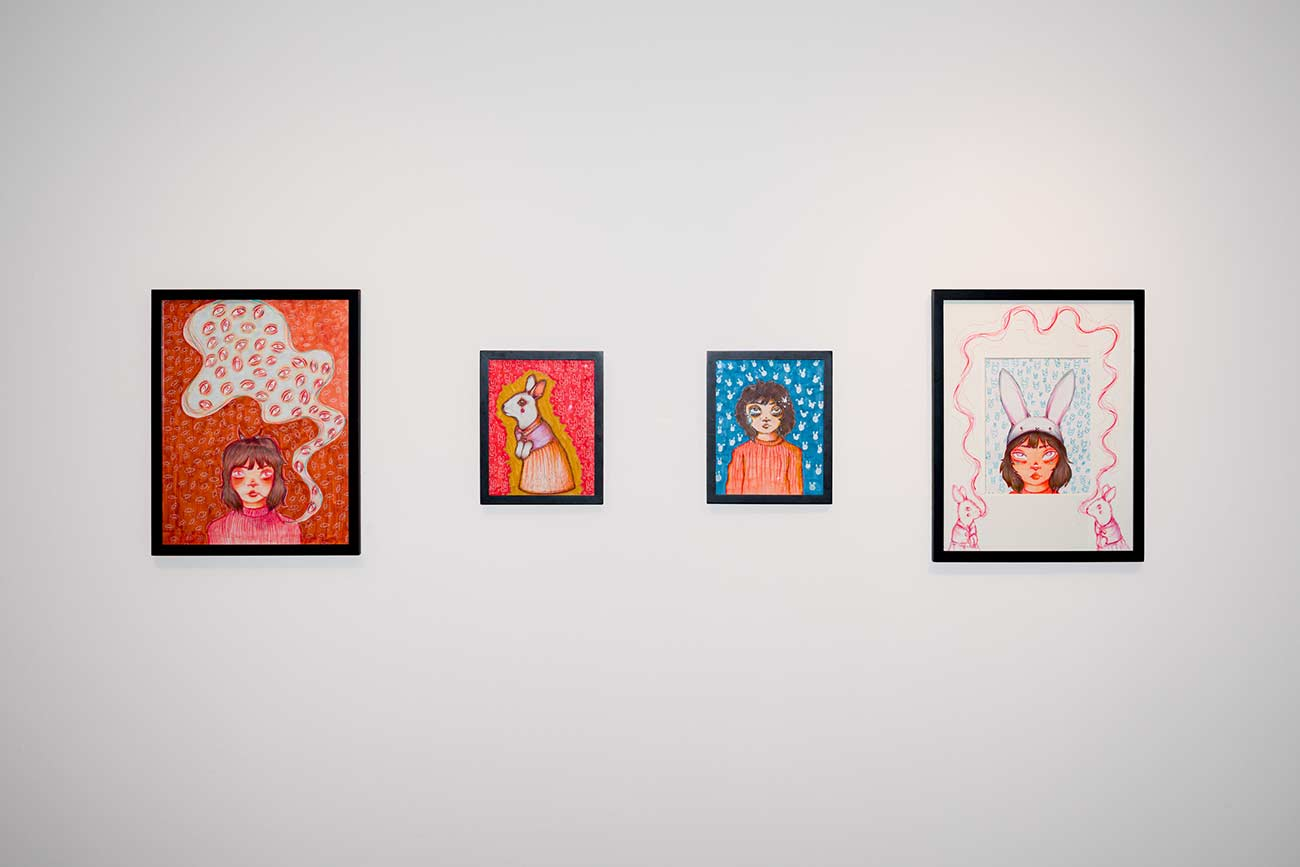 Photo of artwork by SU student Emily Efird installed in the Vachon Gallery