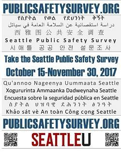 Poster calling for participation in the 2017 Public Safety Survey, listing languages in which the survey is available