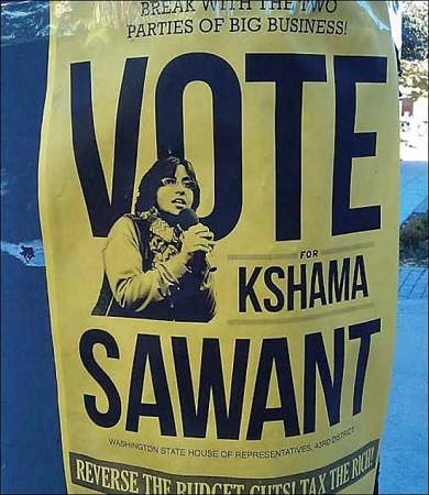 Photo of political flyer for candidate Khsama Sawant