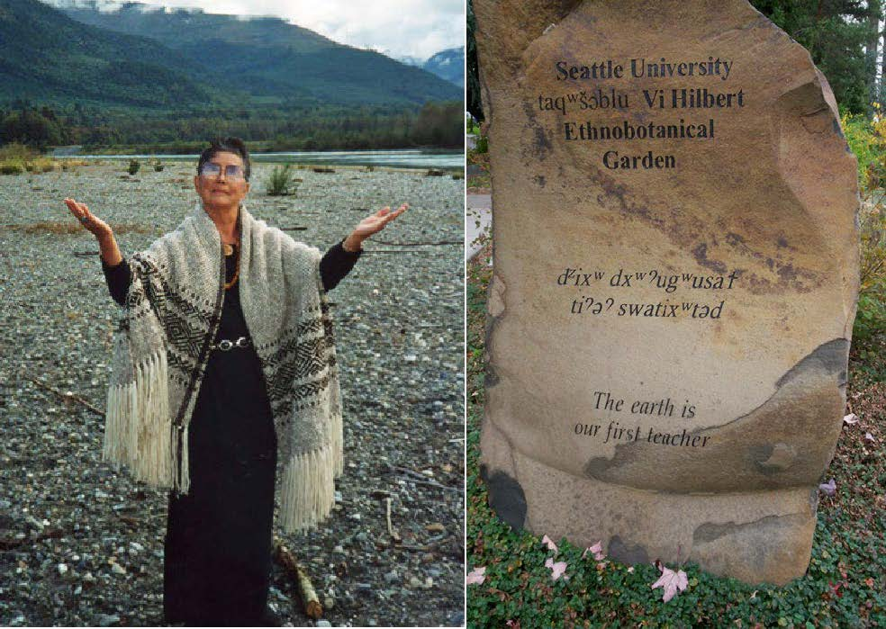 Photo of Vi Hilbert next to a photo of a stone marker in the ethnobotanical garden